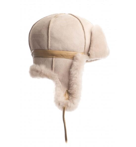 Chapka en peau de mouton pour adulte - Beige