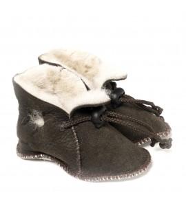 Chaussons en peau de mouton pour bébé - Chocolat