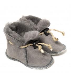 Chaussons en peau de mouton pour bébé - Gris souris