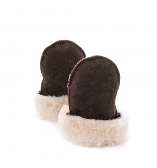 Moufles en peau de mouton pour bébé - Chocolat