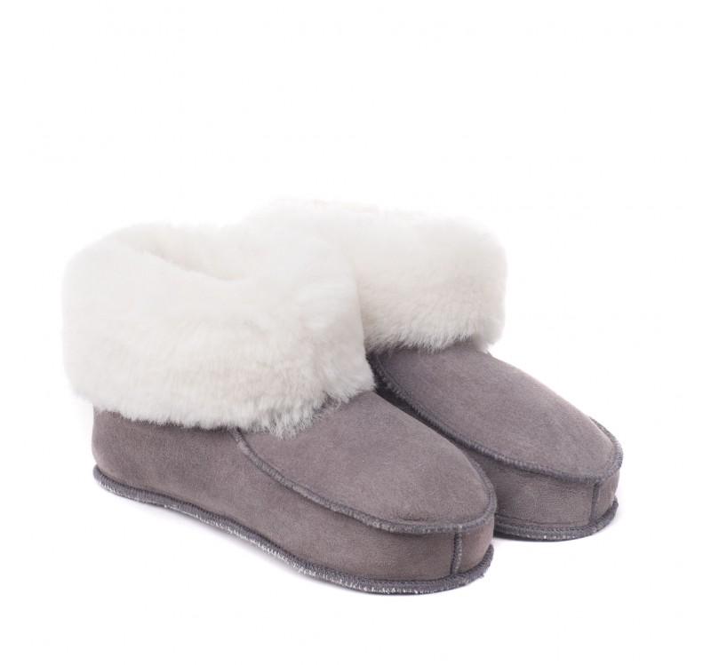chaussons en peau de mouton pour adulte gris bande blanche. Black Bedroom Furniture Sets. Home Design Ideas