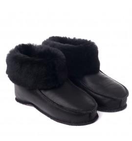 Chaussons en peau de mouton pour adulte - All black