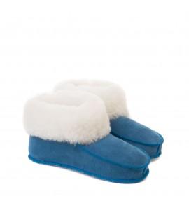 Chaussons en peau de mouton pour adulte - Bleu cobalt