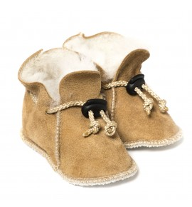 Chaussons en peau de mouton pour bébé - Naturel foncé