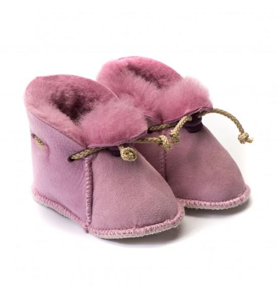 Chaussons en peau de mouton pour bébé - Rose Malabar