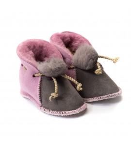 Chaussons en peau de mouton pour bébé - Rose Malabar - gris