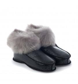 Chaussons en peau de mouton - Noir pailleté - Toscane gris
