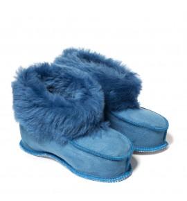 Chaussons en peau de mouton pour enfants - Bleu cobalt