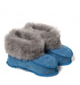 Chaussons en peau de mouton pour enfants - Bleu cobalt bande grise