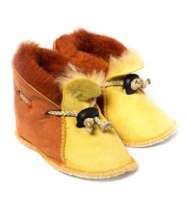 Chaussons en peau de mouton pour bébé - Jaune Sienne