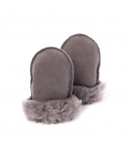 Moufles en peau de mouton pour bébé - Gris souris