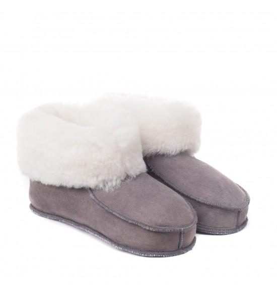 Chaussons en peau de mouton pour adulte - Gris bande blanche