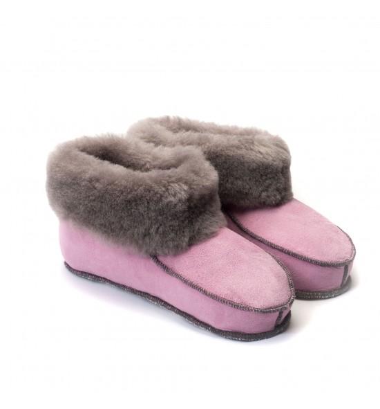 Chaussons en peau de mouton pour adulte - Rose Malabar bande grise