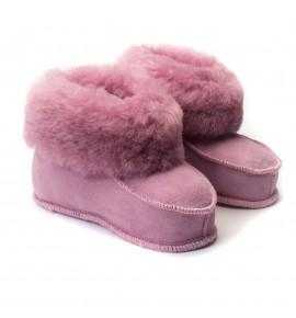 Chaussons en peau de mouton pour enfants - Rose Malabar