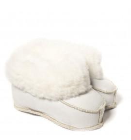 Chaussons en peau de mouton pour enfants - Blanc