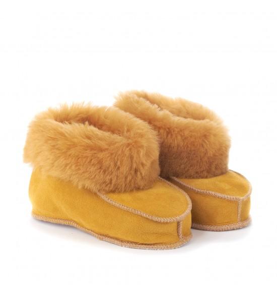 Chaussons en peau de mouton pour enfants - Mustard