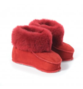 Chaussons en peau de mouton pour enfants - rubis