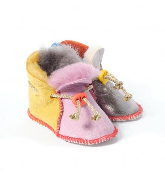 Chaussons en peau de mouton pour bébé - Funky